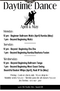 Daytime Dance April and May