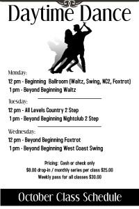 Daytime Dance October Schedule